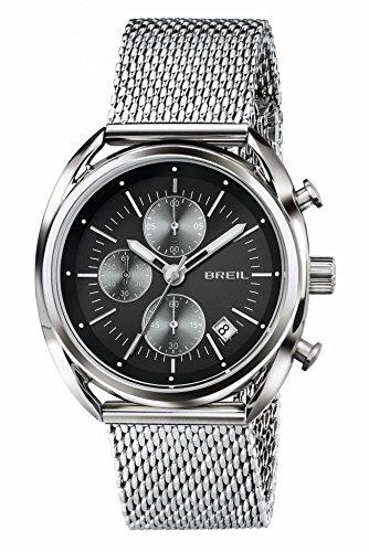 Orologio BREIL uomo BEAUBOURG quadrante nero e bracciale in acciaio, movimento CHRONO QUARZO