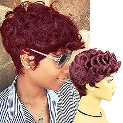 Rofa Short Wavy Synthetic Hair Wig Pixie Cut Curly Wig with Bangs for Black Women