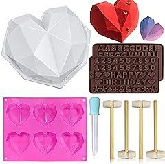 Idea Regalo - Stampo a forma di cuore, in silicone, a forma di cuore, per cioccolatini, con martelli in legno, spazzola in silicone per mousse, torte, dessert, biscotti fai da te