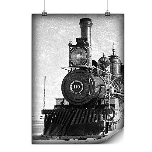 Wellcoda Retro Zug Bild Plakat Jahrgang A0 (119cm x 84cm) Mattes schweres Papier, Ideal für die Gestaltung, Einfach zu hängen Kunst