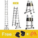 Finether 5 M Échelle Télescopique 2 en 1 Escabeau Pliant Ladder (Multifonctions,...