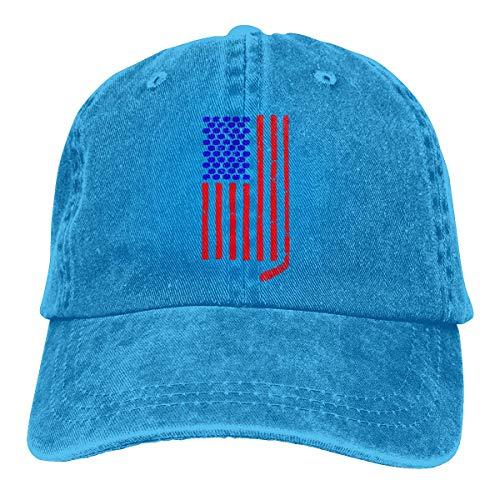 shizh Herren/Damen Hockeyschläger und Pucks USA Flag Garngefärbte Denim-Baseballkappe Verstellbare Hip-Hop-Kappen