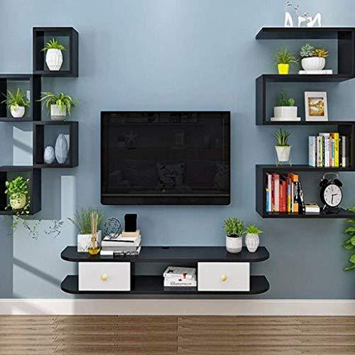 ZXYY Tv-meubel voor muur, slaapkamer, woonkamer, plank, wandrek, drijvend, set, top box, router, wifi, opbergvakken, tv-tafel, 1,2 m, 1,4 m (kleur 120cm-black White