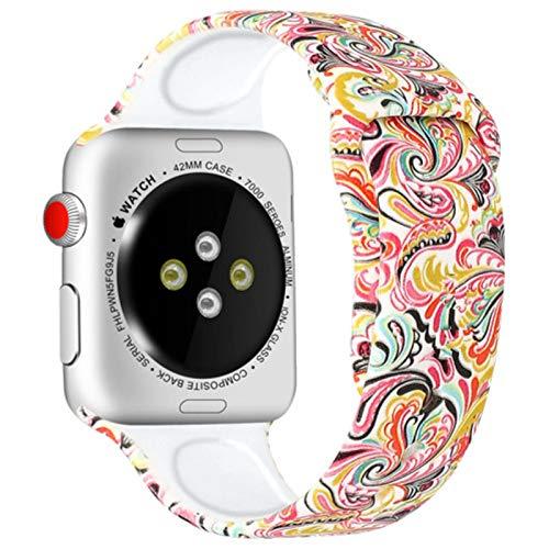 Correa impresa para Apple Watch Band 44mm 40mm para Iwatch 4mm 38mm Correa pulsera de silicona para mujer para Apple Watch SE Series