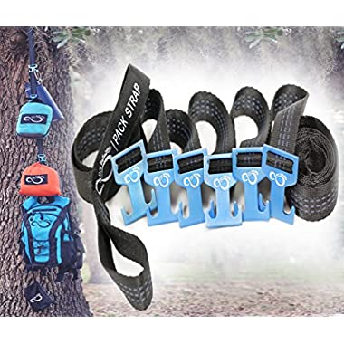 Outdoor Equipment Gear Hanger by Live Infinitely Camping Accessories- 9' Pack Strap For Around Trees or Branches With 6 Aluminum Fully Adjustable T Hooks- Easily Hang 80Lbs Of Gear From Each Hook
