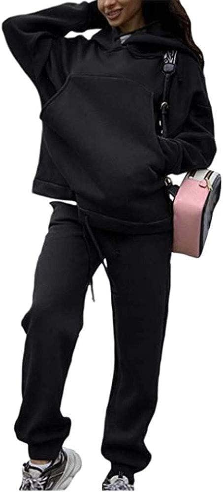 2XL BAINA Femmes 2 Pi/èce Surv/êtement Ensemble Couleur Unie Chaude Sportswear Manches Longues Sweats /à Capuche et Pantalons D/écontract/ée Surv/êtement pour Sport Gym Jogging Yoga S