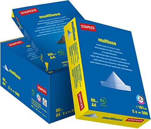 Staples 3410820PG Staples Multiuse Papier Karton weiß A4 80g 5x500 Bl
