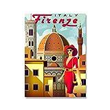 qingqingzijin Vintage Viajes Ciudades Paisaje Lienzo Pintura Italia Roma Toscana Pared Arte Carteles decoración del hogar A587 50 × 70 CM sin Marco