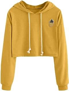 FSSE Women Crop Top Hooded Pineapple Print Plus Size Long Sleeve Pullover Hoodies