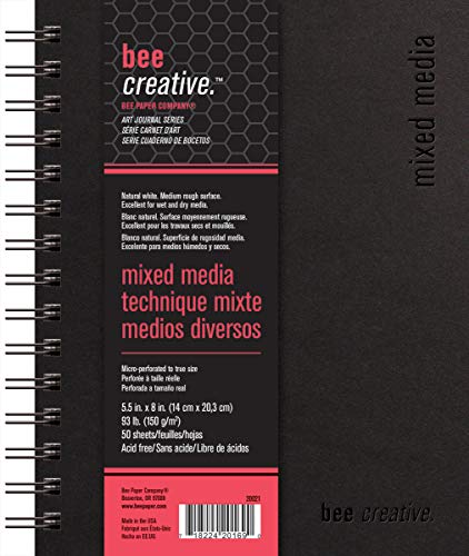 Bee Paper Company Paper Bee Creative Mixed Media Book, 5-1/2'-by-8', 5-1/2x8, 5-1/2-inch x 8-inch, 50 Sheet Art Journal