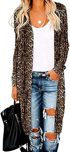 Leopard Cardigan for Women Casual Long Open Front Drape Lightweight Duster High...