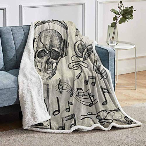 "YUAZHOQI Music Fleece Blanket, Sketchy Background Hipster Skull with Headphones Record Player Mic Speakers Print, Throw for Girlfriend Best Friend 60"" x 80"", Beige Black"