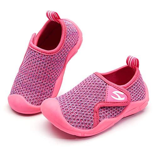 GUBALUN Zapatos de Interior para niños Zapatillas para niños Zapatillas Deportivas Transpirables Zapatillas para Correr Zapatillas Ligeras para niñas(B-Rosa Rojo púrpura,26EU)