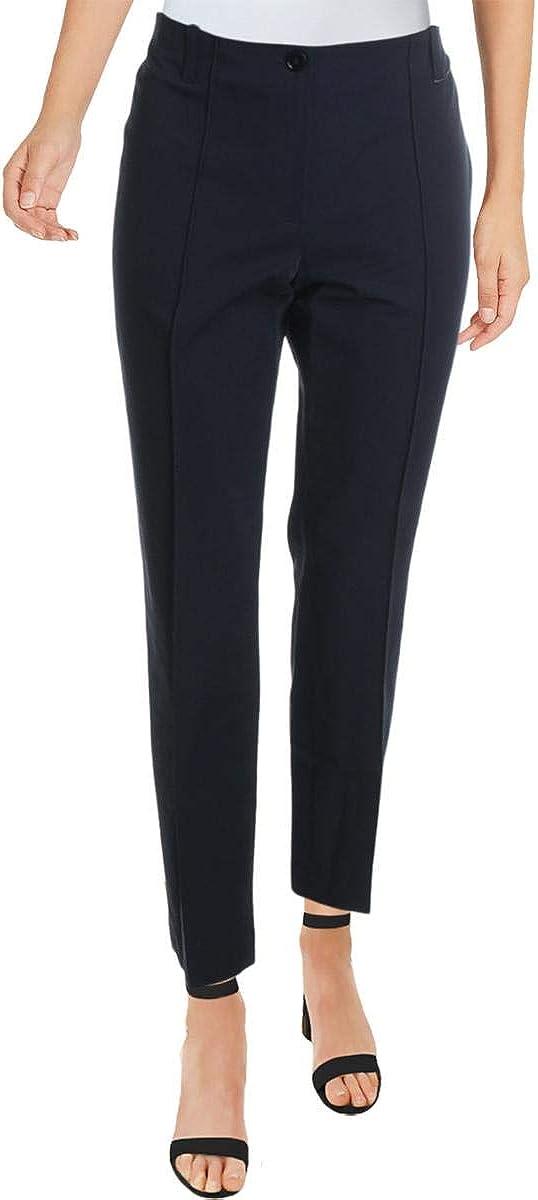 Basler Womens Plus High Rise Casual Straight Leg Pants Navy 24