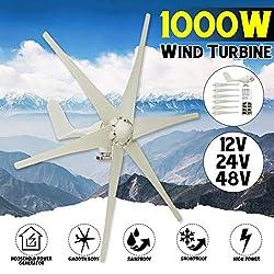 GJZhuan 2020 1000W 12V / 24V / 48Volt 6 Nylon-Faser-Blatt Horizontal Heim Wind Turbines Wind Generator Energie Windrad Energie Turbinen Gebühr. (Voltage : 12V)