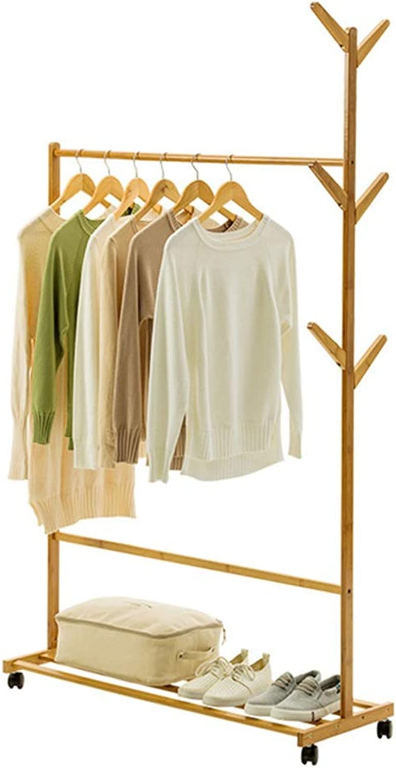 Standing Coat Racks Solid Wood Coat Rack Simple Hanger Floor Bedroom Hanger greenical Clothes Rack Modern Simple Bamboo Multilayer -0223