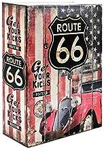 Livro 007 Caixa Cofre de Metal Route 66 Torre Pisa Eiffel + Chaveiro - 24cm