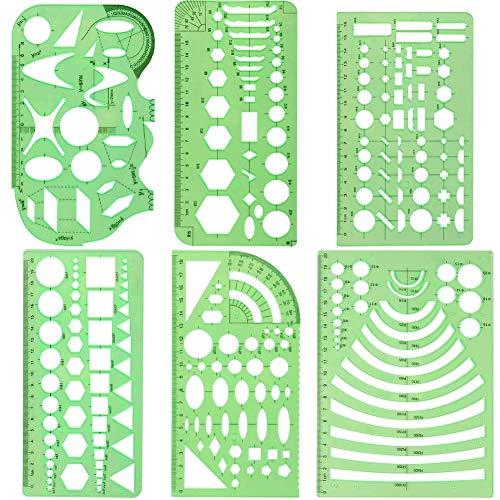 Set di 6 Mascherina Geometrica Disegno Tecnico Flessibile ma Resistente Mascherine Geometriche per L'esame di Stato da Architetto/Disegnare Velocemente a Mano/Disegnare gli Arredi nelle Residenze