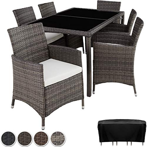 TecTake 403397 Poly Rattan Garden Furniture, Set Dining Room 6+1, Protection Slipcover, Stainless Steel Screws, Grey