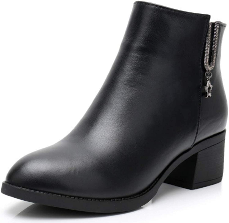 Shiney Damen Leder Chelsea Stiefelies Weibliche Chunky Ferse Slip Plus Samt Warme Nackte Stiefel Herbst Winter