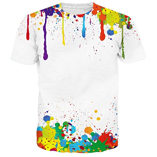 RAISEVERN Unisex 90's Colorful Melting Paint Drip Printed Summer Cool T Shirts Tees Clothing White Yellow