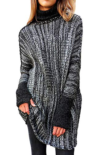 Damen Rollkragenpullover Elegante Vintage Mode Strick Pullover Langarm Hoher Kragen Einfacher Stil Loose Lässig Dicke Warm Sweater Pullis Herbst Winter (Color : Dunkelgrau, One Size : S)