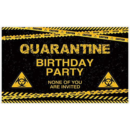 Allenjoy 5x3ft Quarantine Birthday Backdrop Caution Sign Banner for Boys Kids 1st First Birthday Party Photography Background You are not Invited Party Supplies Decoration Photo Studio Booth Props