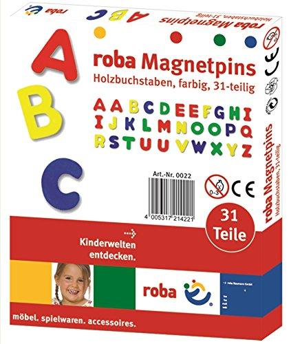 roba Magnet Buchstaben, ABC Set 31tlg, Magnetpins aus Holz, Schul-Spielzeug für Kinder