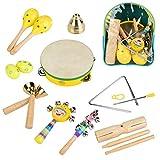 Tnfeeon Musikinstrumente Spielzeug Set 14 Stücke Holz Musik Vorschule Lernspielzeug Glocken Ei Shaker mit Rucksack Party Favors Musikspielzeug Lernset für Kinder Anfänger