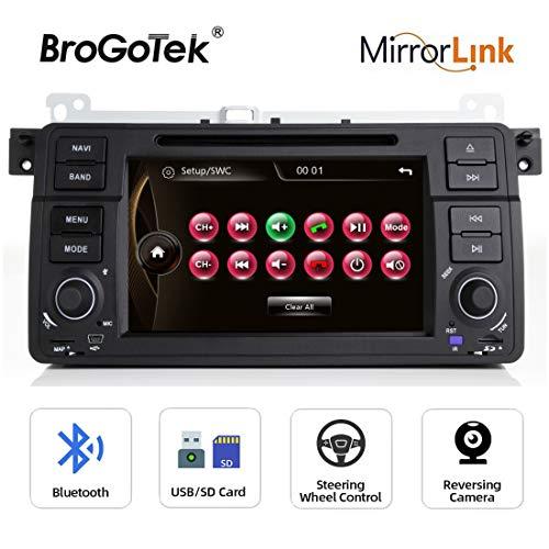 Autoradio Coche Radio 7 Pulgadas Compatible con BMW E46 M3 Rover 75 MG ZT Sedan Touring GPS CD Reproductor de DVD Pantalla Táctil Bluetooth Video USB SD Controles del Volante EU Map+Cámara de Reversa
