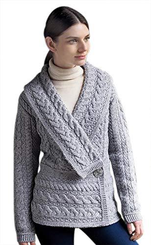 Aran Crafts Irischer Schößchen-Cardigan aus Wolle (Grau, XL)