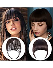 2 PCS Bangs Hair Clip , 100% Human Hair Bangs Extensions Natural Flat Neat Fake Bangs with Temples for Women Bangs Hairpiece for Party and Daily Wear (Air Bangs+ French Bangs- Dark brown)