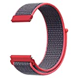 Sport Nylon Loop Bands Compatible with ID205L Veryfitpro Smart Watch and ID205 ID205G ID205U ID205S ID215G, Soft Breathable Replacement Wristband Sport Strap for Women Men, Reddish Black