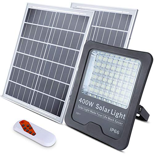 400W Solar Flood Lights Outdoor, 432 LEDs IP66 Waterproof Dual Panel Remote Control Dusk to Dawn Solar Powered Flood Street Security Lights for Yard, Garden, Swimming Pool, Pathway, Basketball Court