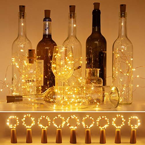 (9 Stück) Flaschenlicht, Litogo Flaschenlichterkette Korken 2M 20LED Flaschenlicht Batterie Lichterkette für Flasche Bottle Light Led außen/innen Deko für Party,Garten,Weihnachten,Hochzeit - Warmweiß