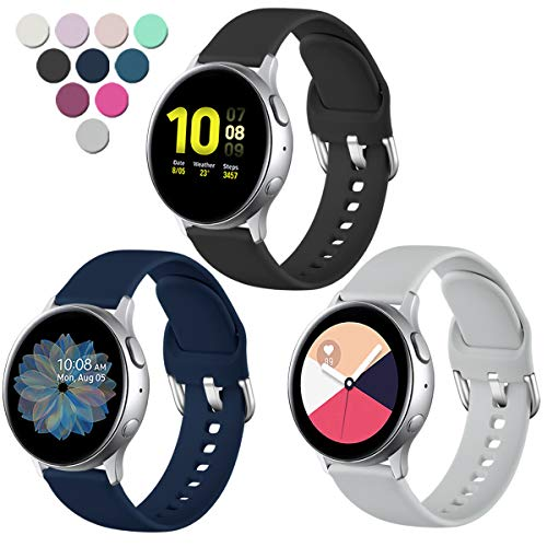 Lerobo Compatible with Samsung Galaxy Watch Active 2 Bands 40mm 44mm, Active Bands, Galaxy Watch 3 Bands 41mm, Galaxy Watch Bands 42mm, 20mm Silicone Sport Replacement Strap,3 Pack,Small
