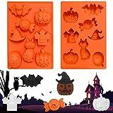 Stampo in silicone per Halloween, 8 forme, per cioccolatini, biscotti, dolci, decorazioni per Halloween, cupcake, decorazioni per cupcake e cupcake
