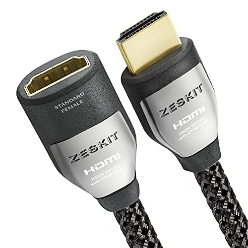 Zeskit Cinema Plus 4K 6.5ft Male to Female High Speed HDMI Extension Cable 22.28Gbps Compatible with 4K 60Hz Dolby Vision HDR ARC HDCP 2.2 Roku Fire TV Stick Xbox PS4 Pro Apple TV LG Sony Samsung