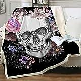 Sleepwish Sugar Skull Blanket Fleece Skull Throw Blanket Black Pink Skull Flower Rose Blanket for Women Girl Fuzzy Sherpa Plush Blanket for Bed Couch Sofa Chair Office (50'x 60') Skull Gifts