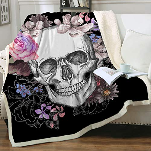"Sleepwish Black Sugar Skull Blanket Soft Fleece Throw Blanket Skull Rose Design Gothic Skeleton Sherpa Blanket for Bed Couch Sofa Chair Office (60""x 80"")"