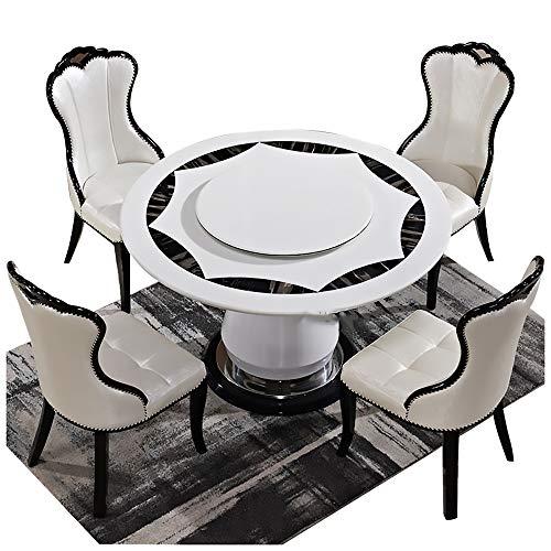 Mesa de Comedor, Mesa de Comedor de mármol y combinación de Silla con Plato Giratorio Mesa de Comedor Redonda 1 Mesa + 4 sillas,160CM Table 100CM Turntable