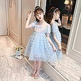 SUNXC Niña Princesa Vestido Disfraz, Melaleuca Vestido de Tarta Princesa Vestido-Azul_150cm,Vestido de Princesa Fiesta de Vestir Disfraces