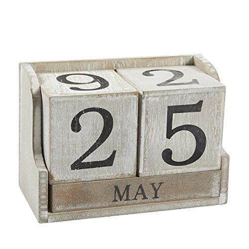 """Kalenderblock """"Ewiger Kalender"""" von Juvale - Mit Datums- und Monatsanzeige - Hübscher Tischkalender für Büro oder Zuhause im Vintage-Stil - Holz, Weiß - 13,5cm x 9,4cm x 6,6cm"""