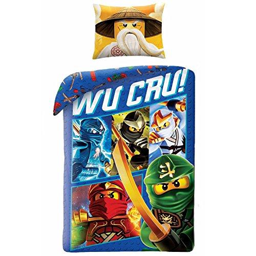 Parure de lit Lego Ninjago 100% Coton - Housse de Couette Réversible (140x200) + Taie d'Oreiller