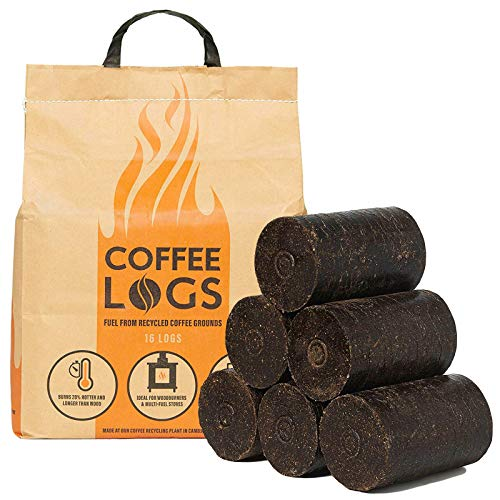 AMOS 16 x Coffee Logs Extra Hot Fire Recycled Eco-Friendly Carbon Neutral Solid Fuel Heat Logs for Wood Burners and Stoves