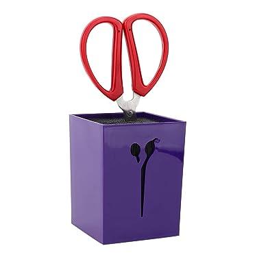 Scissors Holder, Hairdressing Clip Holder,Scissor Storage Box, Shear Holder Rack Combs Clips Storage Case Desk Accessories Tools Organizer (purple)