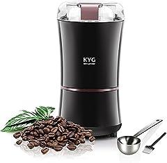 KYG Molinillo de Café Eléctrico con Cepillo para Limpieza y Cuchara de Medición