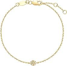 Carleen 18K Solid Yellow Gold Minimalist Dainty Bezel Round Floral Pave Diamond Bracelet Delicate Fine Jewelry for Women Girls