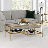 Henn&Hart Brass Finish Coffee Table, 45', Gold