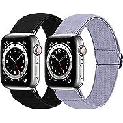 MEFEO 2-Pack Adjustable Elastic Apple Watch Bands Compatible with Apple Watch 38mm 40mm 42mm 44mm, Nylon Sport Women Girls Bracelet Strap for iWatch SE Series 6/5/4/3/2/1(Black+Grey, 38mm/40mm)
